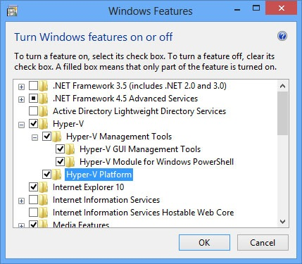 Tick all Hyper-V features in Windows Features