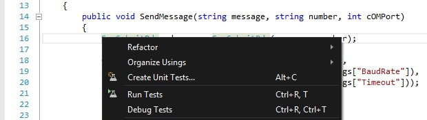 """Create Unit Tests..."" menu enabled"
