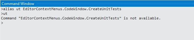 "Command ""EditorContextMenus.CodeWindow.CreateUnitTests"" is not available."