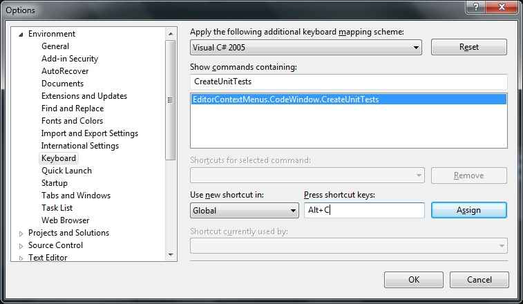 Visual Studio 2012 Options Window focussing on Environment --> Keyboard