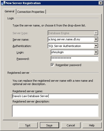 New Server Registration Dialog